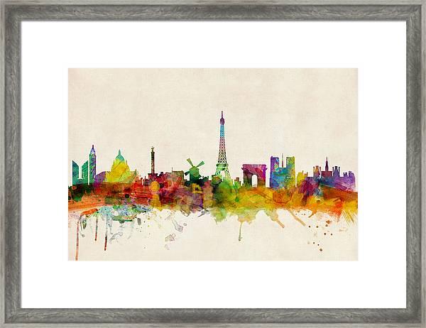 Paris France Skyline Panoramic Framed Print