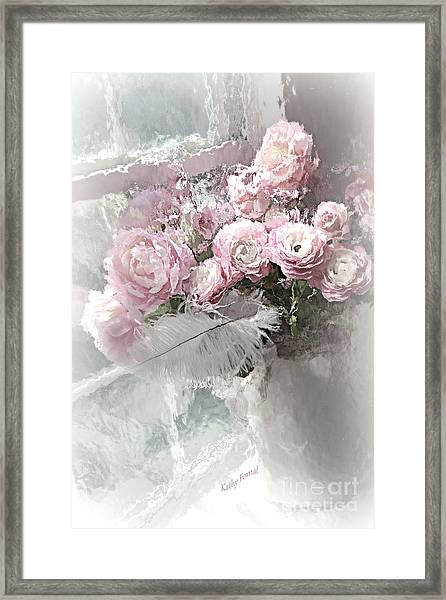 Paris Pink Impressionistic French Roses And Ranunculus - Shabby Chic Romantic Pink Flowers Framed Print