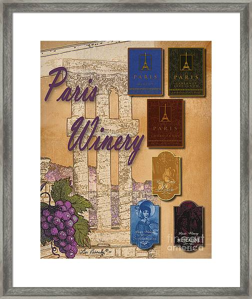 Paris Winery Labels Framed Print