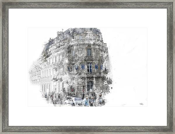 Paris With Flags Framed Print