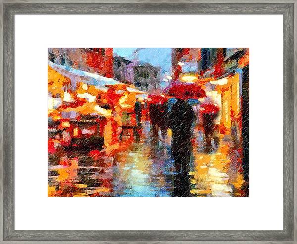 Parisian Rain Walk Abstract Realism Framed Print