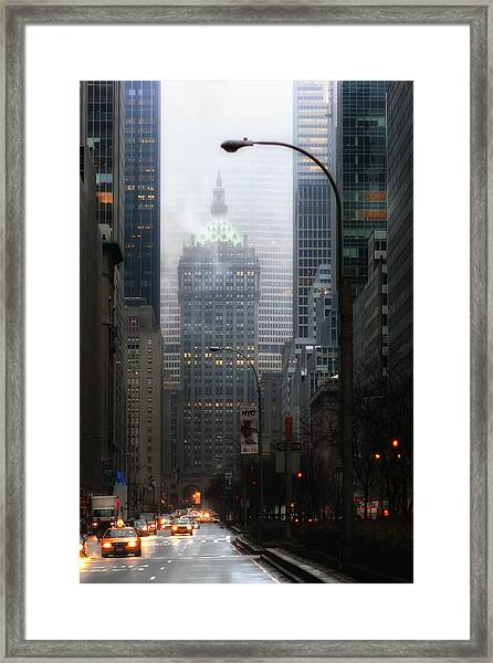 Park Avenue Dawn In Color Framed Print