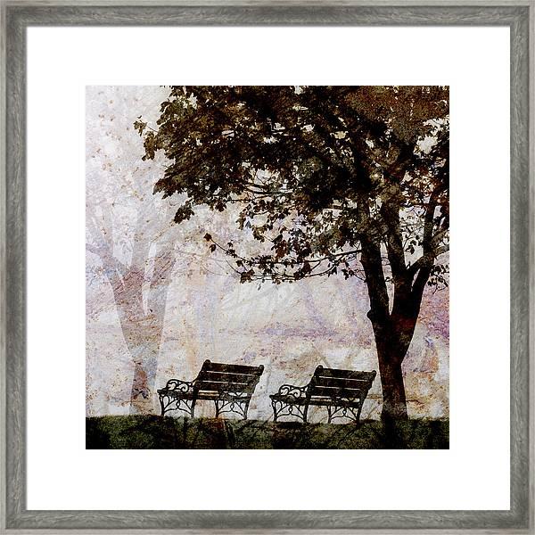 Park Benches Square Framed Print
