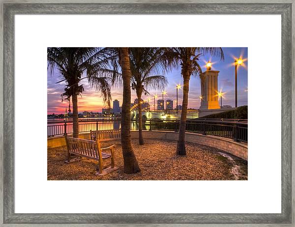 Park On The West Palm Beach Wateway Framed Print