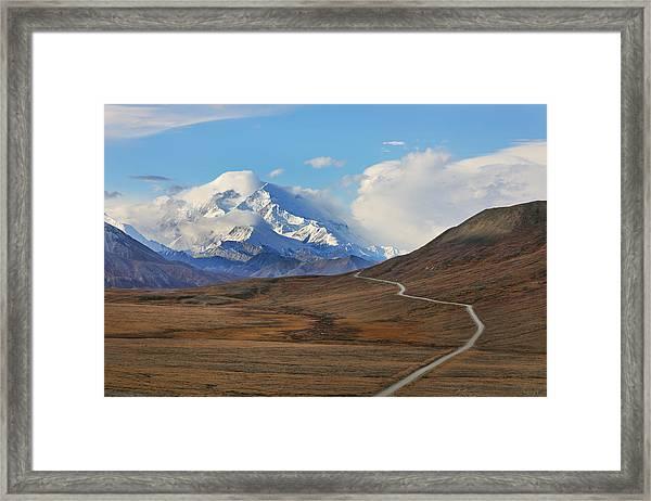 Park Road In Autumn Landscape Leading Toward Mount Denali Framed Print by Rainer Grosskopf