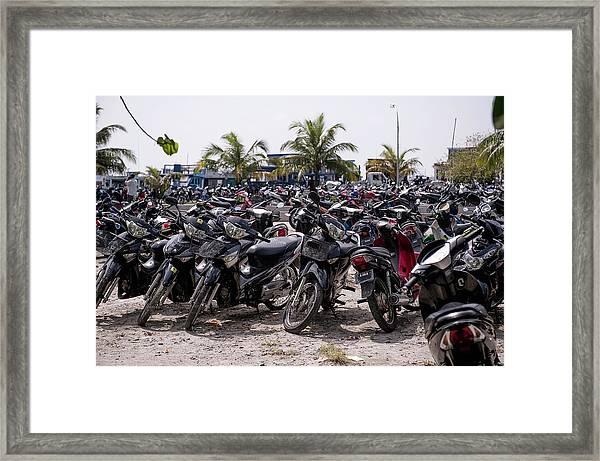 Parking For Motorbikes, Male, Maldives Framed Print