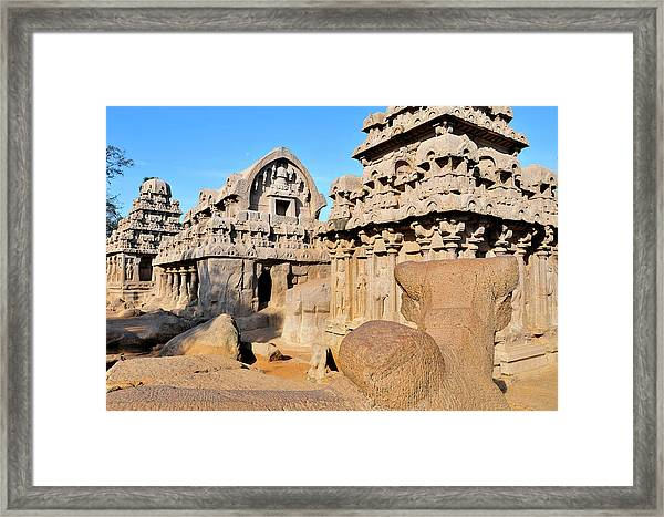 Part Of The Five Rathas Complex Framed Print
