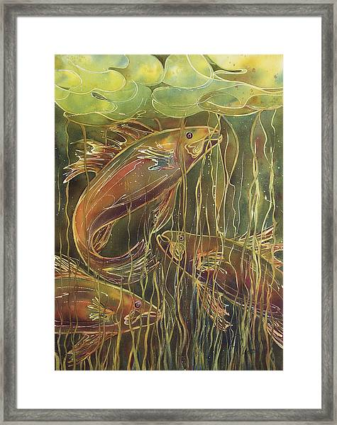 Party Under The Lily Pads II Framed Print