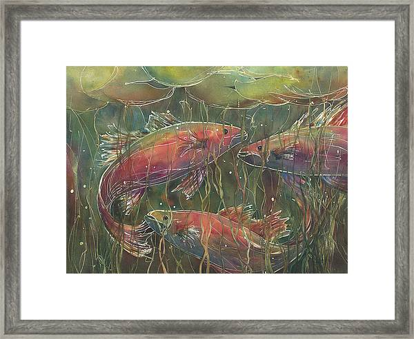Party Under The Lily Pads Framed Print