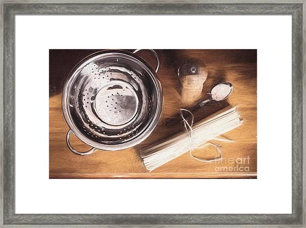 Pasta Preparation. Vintage Photo Sketch Framed Print
