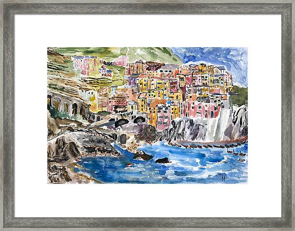 Pastel Patchwork Village Framed Print