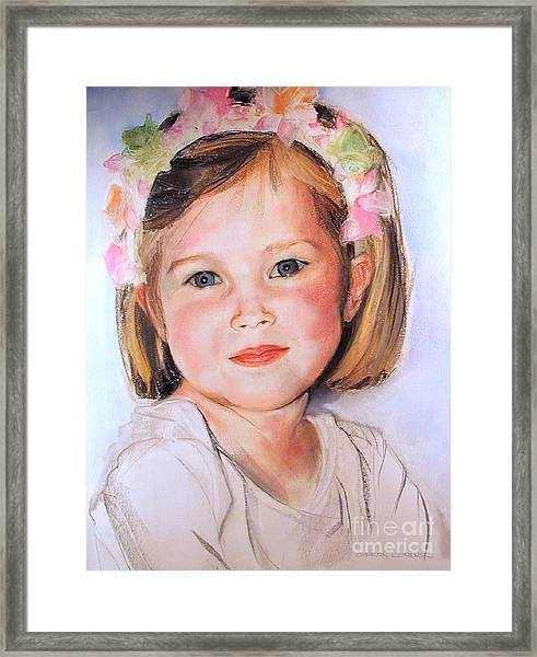 Pastel Portrait Of Girl With Flowers In Her Hair Framed Print