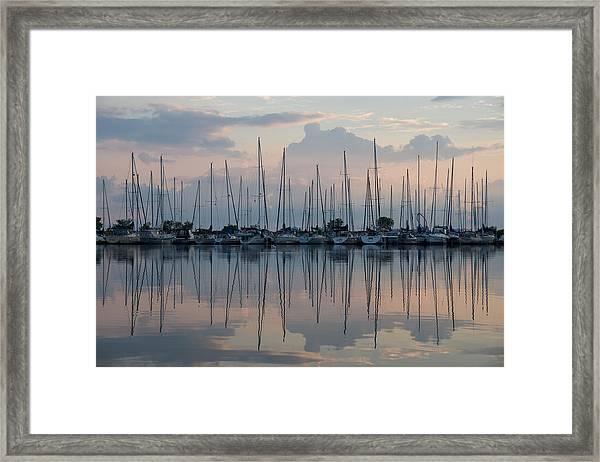 Pastel Sailboats Reflections At Dusk Framed Print