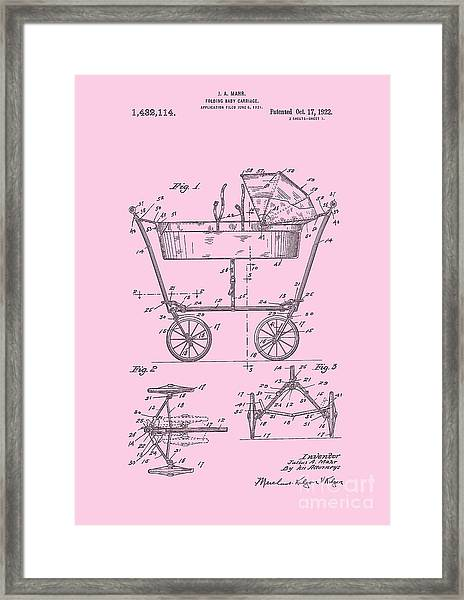 Patent Art Baby Carriage 1922 Mahr Design Pink Framed Print
