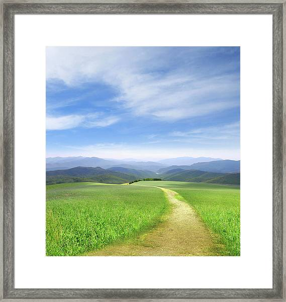 Path Through Field Leading To Distant Framed Print