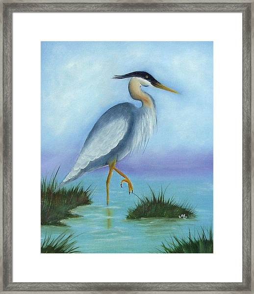 Patience Blue Heron Framed Print by Mary Gaines