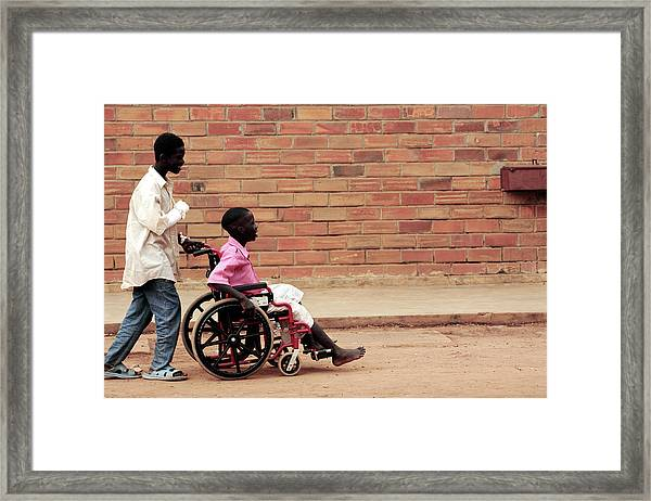 Patients Outside A Hospital Framed Print