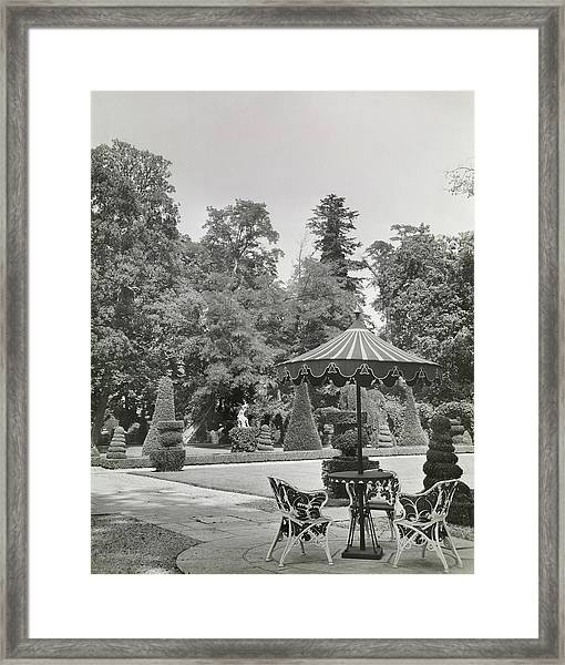 Patio In Garden At Versailles Framed Print