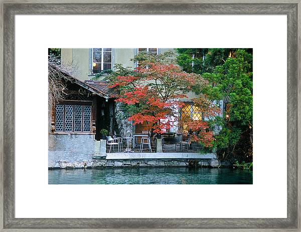 Patio On The River Framed Print