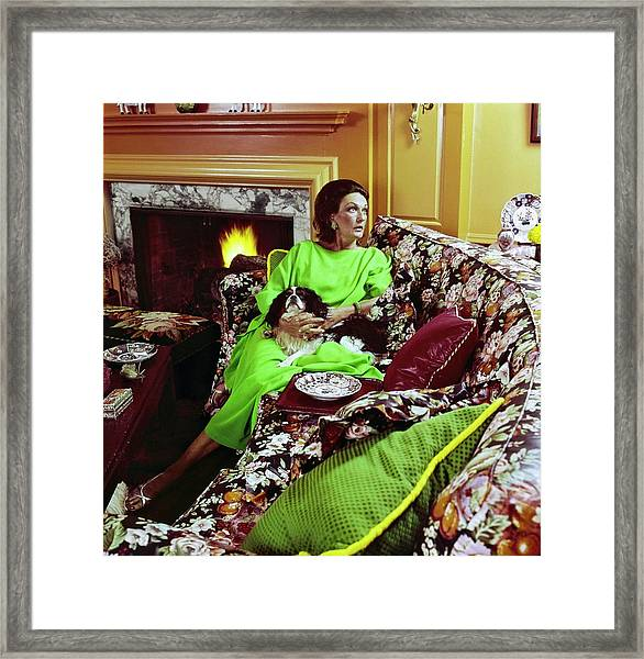 Patricia Buckley With Her Dog Framed Print