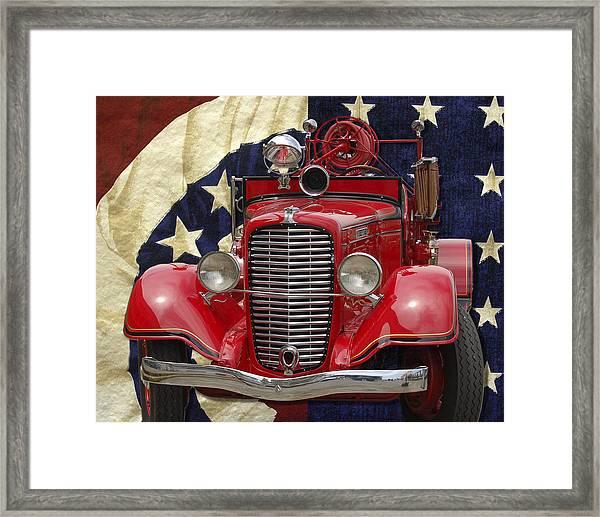 Patriotic Fire Truck Framed Print