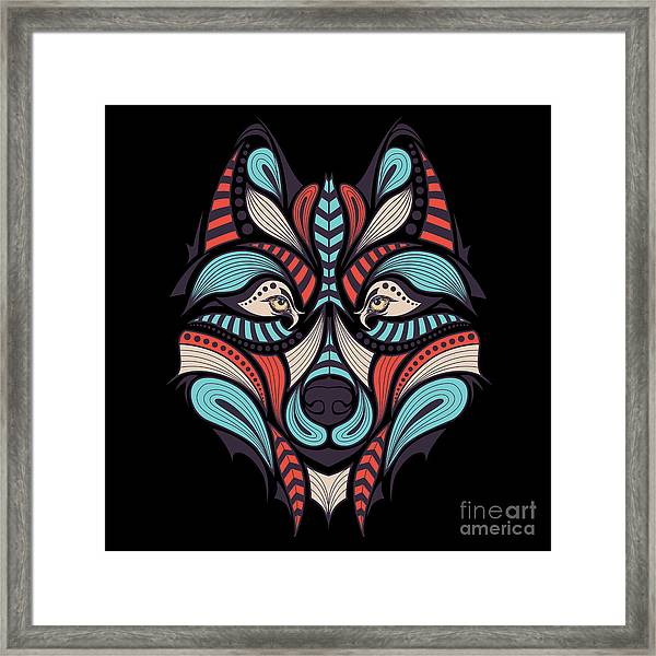 Patterned Colored Head Of The Wolf Framed Print by Sunny Whale