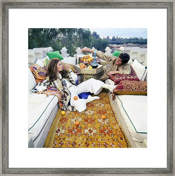 Paul And Talitha Getty On Roof Terrace Framed Print