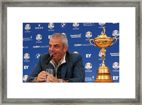 Paul Mcginley Press Conference - 2014 Ryder Cup Framed Print by Mike Ehrmann