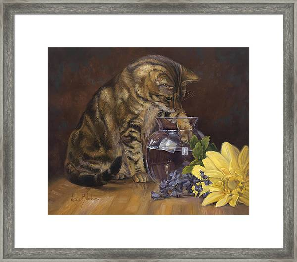 Paw In The Vase Framed Print