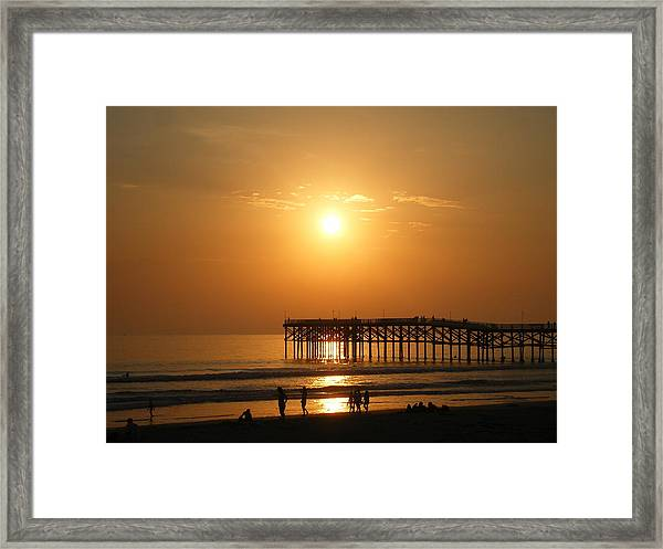 Pb Sunset Over The Pier Framed Print