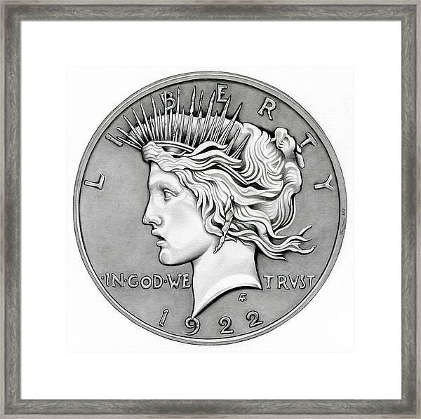 Graphite Peace Dollar Framed Print