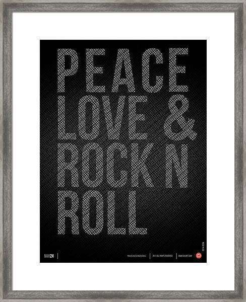 Peace Love And Rock N Roll Poster Framed Print
