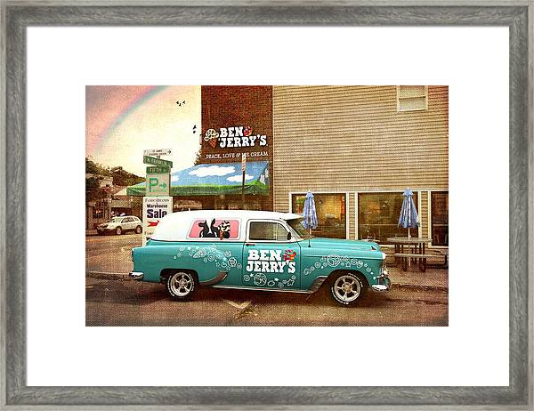 Peace Love Happiness And Ice Cream Framed Print