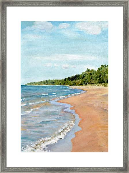 Peaceful Beach At Pier Cove Framed Print