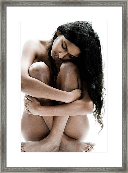 Peaceful Nude Girl Sitting Framed Print by Win-initiative