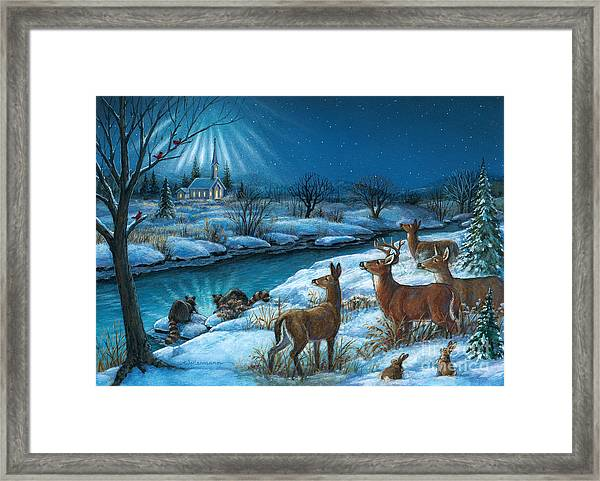 Peaceful Winters Night Framed Print