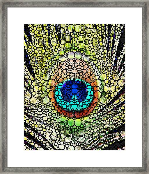 Peacock Feather - Stone Rock'd Art By Sharon Cummings Framed Print