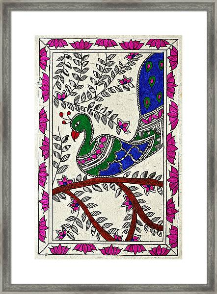 Peacock In Bloom Framed Print by Neha Dasgupta
