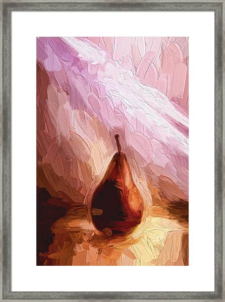 Pear And Light Rays Painterly Effect Framed Print
