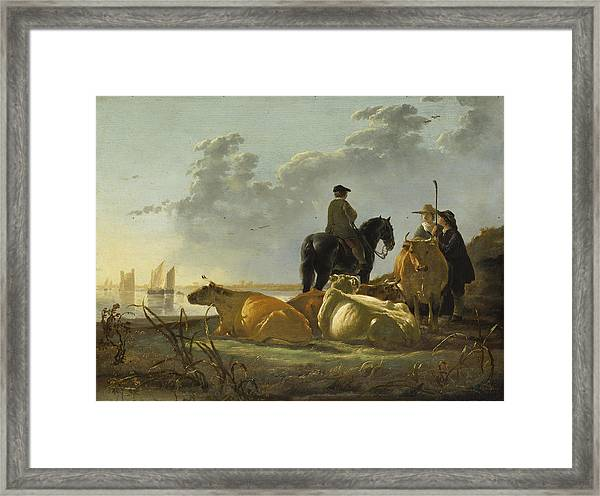 Peasants And Cattle By The River Merwede Framed Print