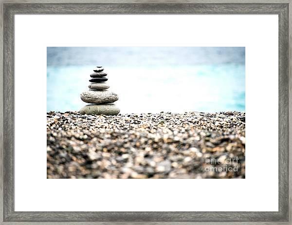 Pebble Stone On Beach Framed Print