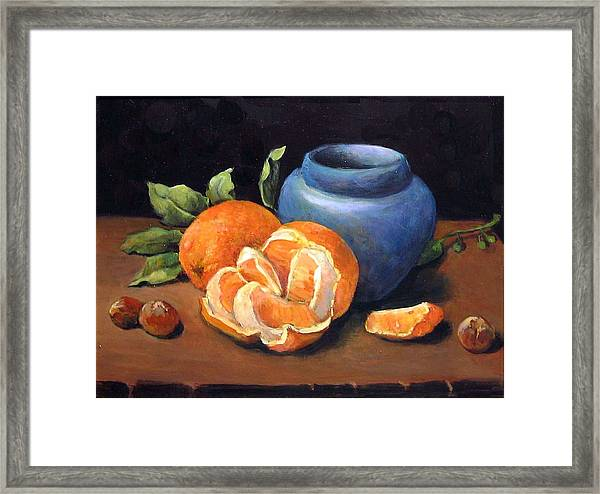 Peeled Orange Framed Print