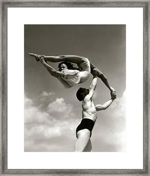 Peggy Taylor Practicing Her Routine With An Framed Print