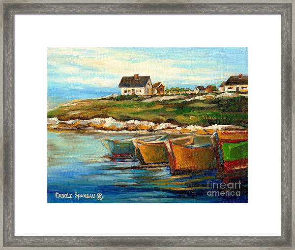 Peggys Cove With Fishing Boats Framed Print