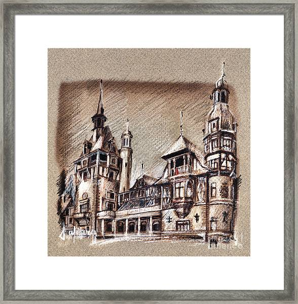 Peles Castle Romania Drawing Framed Print
