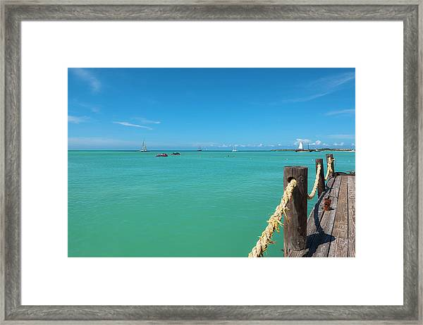 Pelican Pier And Ocean, Palm Beach Framed Print