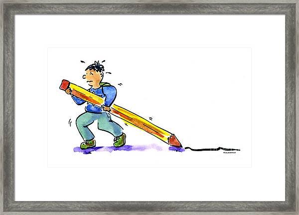 Pencil Boy Framed Print