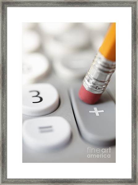 Pencil Pushing Addition Button On Calculator Framed Print