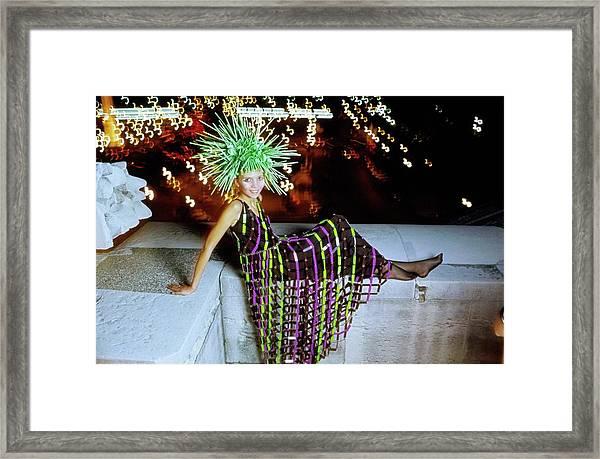 Penelope Tree Wearing Paco Rabanne Framed Print