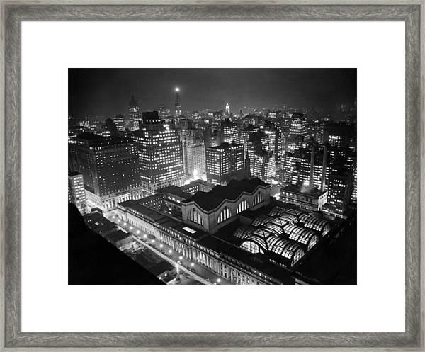 Pennsylvania Station At Night Framed Print